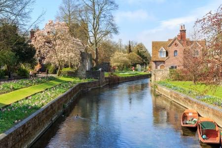 canterbury: Riverside paysage sur la rivi�re Stour � Canterbury Kent, Angleterre Royaume-Uni