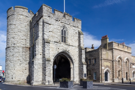 gatehouse: The 14th century Westgate Medieval Gatehouse at Canterbury Kents England UK Editorial