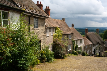 shaftesbury: The famous view down Gold Hill at  Shaftesbury Dorset England UK Europe