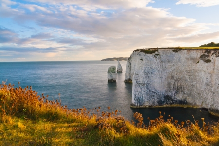 Evening light at Old Harry Rocks Dorset England UK Europe photo
