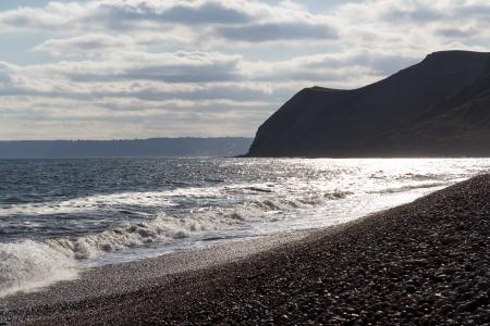 beach shingle: Spiaggia con ciotoli a Eype Dorset Inghilterra Regno Unito Europa Archivio Fotografico