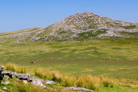 bodmin: Rugged scenery on Bodmin Moor Cornwall England with Rough Tor in the distance Stock Photo