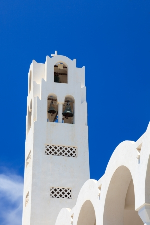 thira: Bell tower on the Orthodox Metropolitan Cathedral Fira (Thira) Santorini Greece
