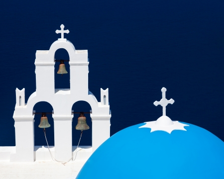Blue Dome Church at Firostefani near Fira on Thira Island Santorini Greece photo