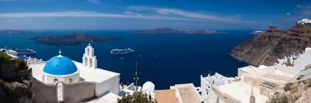 firostefani: Blue Dome Church at Firostefani near Fira on Thira Island Santorini Greece Stock Photo