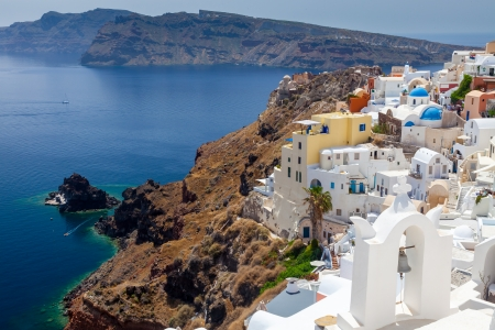 Buildings on the Caldera at Oia Santorini Greece Europe photo