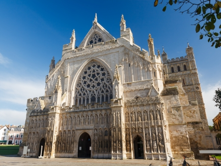 devon: The grand Gothic style Cathedral at Exeter Devon England UK