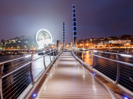 millennium wheel: Millennium Bridge and Observation Wheel at dusk Torquay Devon England UK Europe