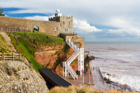 Jacob's Ladder steps down to the beach at Sidmouth Devon England UK Europe