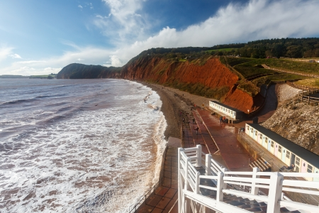 Jacob's Ladder steps down to the beach at Sidmouth Devon England UK photo
