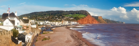 Panoramic shot overlooking Sidmouth Beach Devon England England UK Europe photo