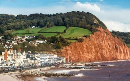 Overlooking Sidmouth Beach Devon England England UK Europe Stock Photo