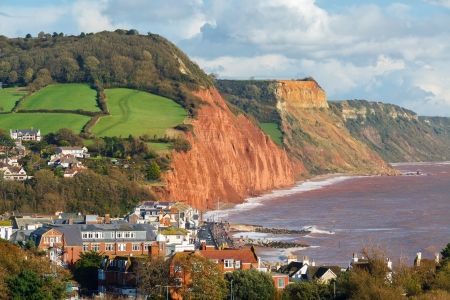 View down on to Sidmouth Devon England UK Europe photo
