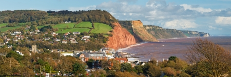 Panoramic view down to Sidmouth Devon England UK Europe photo