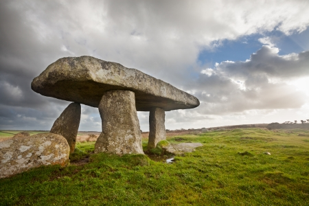 monolith: Lanyon Quoit standing stones, a neolithic tomb on the Penwith Moor Cornwall England UK Europe