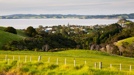 newzealand: View towards the town of Leigh from a lookout North Island New Zealand