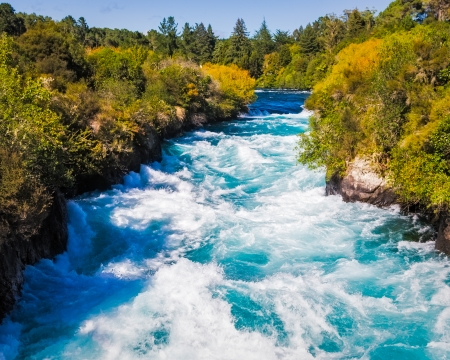Powerful Huka Falls on the Waikato River near Taupo North Island New Zealand