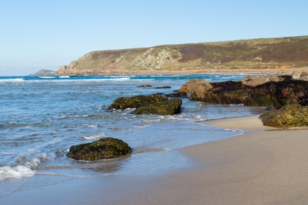 The beautiful golden sandy beach Whitesands Bay at Sennen Cove Cornwall England UK Europe