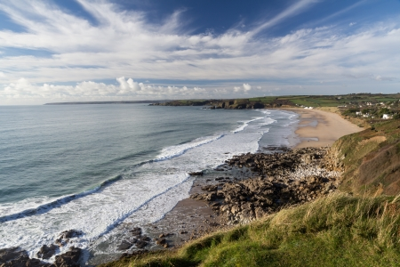 gb: Praa Sands Beach from Lesceave Cliff Cornwall England UK Europe Stock Photo
