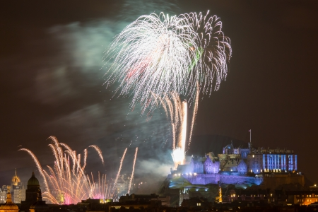 Spectacular Hogmanay (New Years Eve) fireworks over Edinburgh Castle, Scotland UK Europe