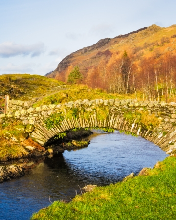 The packhorse bridge at Watendlath Beck above Derwentwater in the  Lake District Cumbria England UK Europe Stock Photo - 25489269