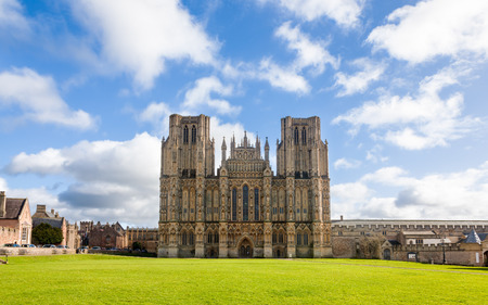 Wells Cathedral dedicated to St Andrew and built in the Gothic Style, Somerset England UK Europe
