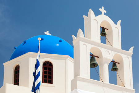 Blue domed church at Oia Santorini Greece Europe photo