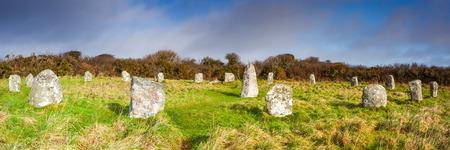 steencirkel: Boscawen-Un een stenen cirkel in de buurt van St Buryan Cornwall Engeland dateert uit de bronstijd.