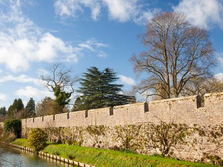 somerset: Moat of the Bishops Palace, Wells Somerset England UK Europe