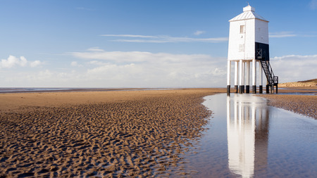 burnham: The Low 1832 Wooden Lighthouse at Burnham on Sea, Somerset, England Stock Photo
