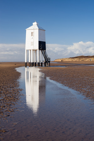 burnham: The Low 1832 Wooden Lighthouse at Burnham on Sea, Somerset, England Stock Photo