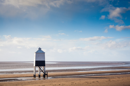 burnham: The Low 1832 Wooden Lighthouse at Burnham on Sea in Somerset, England