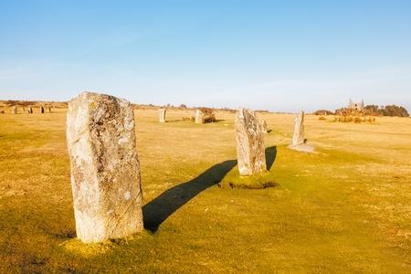 steencirkel: De Hurlers Bronstijd stenen cirkel in Minions buurt Liskeard Cornwall, Engeland