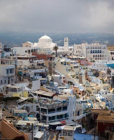 fira: Overlooking the principal town of Fira Santorini Greece Europe Stock Photo