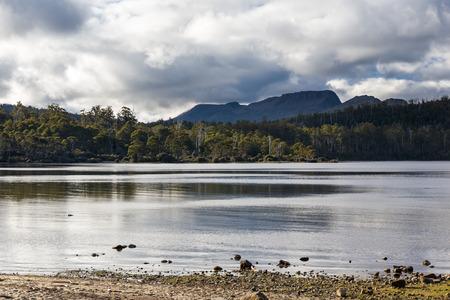 bushwalk: Lake Saint Clair in Cradle Mountain Lake St Clair National Park, Tasmania Australia Stock Photo