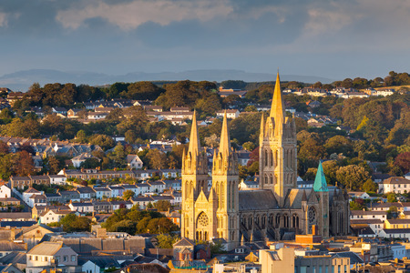 Overlooking the cathedral and city skyline, Truro Cornwall England UK