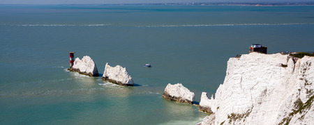 The Needles rock formation and chalk cliffs on the Isle Of Wight England UK Europe Stock Photo