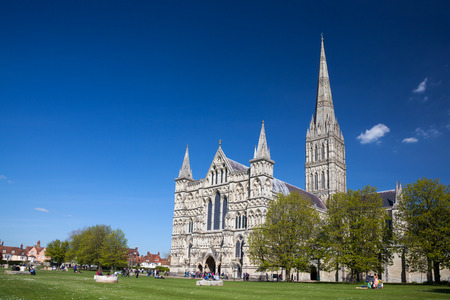 wiltshire: Early English Gothic style Salisbury Cathedral with the talest spire in the country. Wiltshire England UK Europe