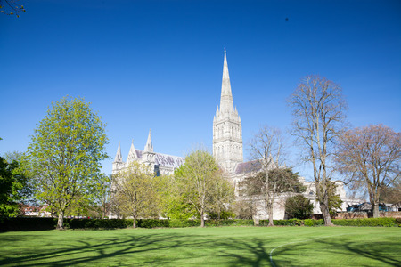 Early English Gothic style Salisbury Cathedral with the talest spire in the country. Wiltshire England UK Europe photo