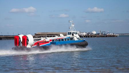 hovercraft: The Ryde Portsmouth Hovercraft at Ryde on the Isle Of Wight England UK Europe Stock Photo