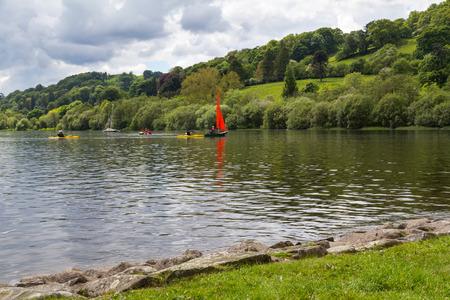 Bala Lake or Llyn Tegid in Welsh is a large lake in Gwynedd, Wales UK Europe Stock Photo