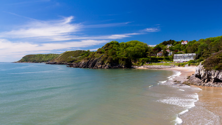 cymru: Beautiful sunny day overlooking Caswell Bay Gower Peninsual Wales UK Europe
