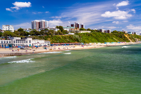 bournemouth: Overlooking Bournemouth Beach photographed from the Pier  Dorset England UK Europe