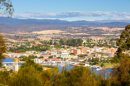 Overlooking Launceston on the Tamar River, Tasmania, Australia 스톡 콘텐츠