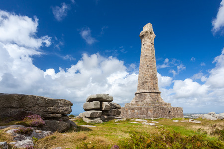 brea: The 1836 monument to Francis Lord de Dunstanville and Basset located at the top of Carn Brea hill near Redruth Cornwall England UK Europe Stock Photo