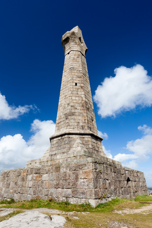 The 1836 monument to Francis Lord de Dunstanville and Basset located at the top of Carn Brea hill near Redruth Cornwall England UK Europe Stock Photo