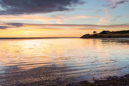 dorset: Sunset on The Fleet Lagoon near Weymouth Dorset England UK Europe