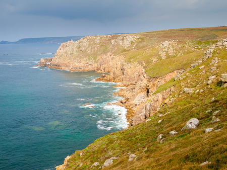 sennen: On the dramtic coastpath between Lands End and Sennen Cove Cornwall England UK Europe Stock Photo