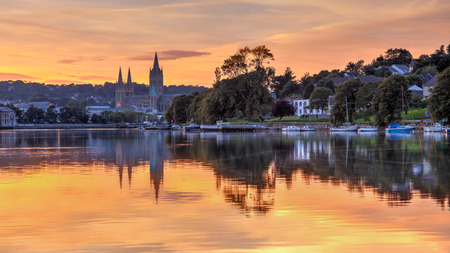 View up river at sunset from Malpas with Truro Cathedral in the background