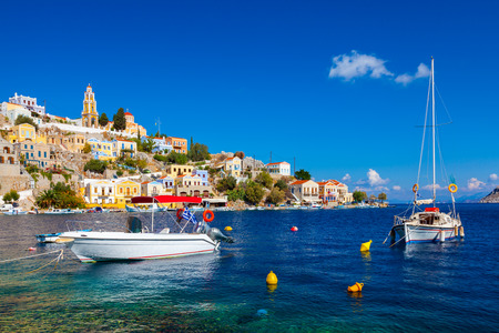 dodecanese: Beautiful summers day at Symi on the Greek island of Symi in the Dodecanese Greece Europe